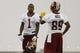 May 29, 2014; Ashburn, VA, USA; Washington Redskins wide receiver DeSean Jackson (1) talks with Redskins wide receiver Santana Moss (89) during organized team activities at Redskins Park. Mandatory Credit: Geoff Burke-USA TODAY Sports