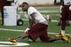 May 29, 2014; Ashburn, VA, USA; Washington Redskins wide receiver DeSean Jackson (1) stretches his leg during organized team activities at Redskins Park. Mandatory Credit: Geoff Burke-USA TODAY Sports