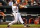 May 12, 2014; Baltimore, MD, USA; Baltimore Orioles shortstop J.J. Hardy (2) bats in the second inning against the Detroit Tigers at Oriole Park at Camden Yards. The Tigers defeated the Orioles 4-1. Mandatory Credit: Joy R. Absalon-USA TODAY Sports