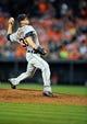 May 13, 2014; Baltimore, MD, USA; Detroit Tigers pitcher Drew Smyly (33) pitches in the third inning against the Baltimore Orioles at Oriole Park at Camden Yards. The Tigers defeated the Orioles 4-1. Mandatory Credit: Joy R. Absalon-USA TODAY Sports