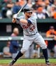 May 14, 2014; Baltimore, MD, USA; Detroit Tigers catcher Bryan Holaday (50) bats in the third inning against the Baltimore Orioles at Oriole Park at Camden Yards. The Tigers defeated the Orioles 7-5. Mandatory Credit: Joy R. Absalon-USA TODAY Sports