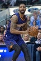 Apr 12, 2014; Dallas, TX, USA; Phoenix Suns forward Markieff Morris (11) during the game against the Dallas Mavericks at the American Airlines Center. The Mavericks defeated the Suns 101-98. Mandatory Credit: Jerome Miron-USA TODAY Sports
