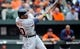 May 14, 2014; Baltimore, MD, USA; Detroit Tigers left fielder Rajai Davis (20) bats in the third inning against the Baltimore Orioles at Oriole Park at Camden Yards. The Tigers defeated the Orioles 7-5. Mandatory Credit: Joy R. Absalon-USA TODAY Sports