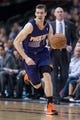 Apr 12, 2014; Dallas, TX, USA; Phoenix Suns guard Goran Dragic (1) during the game against the Dallas Mavericks at the American Airlines Center. The Mavericks defeated the Suns 101-98. Mandatory Credit: Jerome Miron-USA TODAY Sports