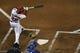 May 30, 2014; Washington, DC, USA; Washington Nationals shortstop Ian Desmond (20) hits a three run home run during the fourth inning against the Texas Rangers  at Nationals Park. Mandatory Credit: Tommy Gilligan-USA TODAY Sports
