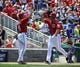 May 31, 2014; Washington, DC, USA; Washington Nationals left fielder Scott Hairston (7) is congratulated by third baseman Anthony Rendon (6) after hitting a two run home run against the Texas Rangers during the sixth inning at Nationals Park. Mandatory Credit: Brad Mills-USA TODAY Sports