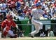 May 31, 2014; Washington, DC, USA; Texas Rangers center fielder Leonys Martin (2) doubles during the seventh inning at Nationals Park. Mandatory Credit: Brad Mills-USA TODAY Sports