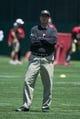 May 28, 2014; Santa Clara, CA, USA; San Francisco 49ers head coach Jim Harbaugh during organized team activities at the SAP Performance Facility. Mandatory Credit: Kyle Terada-USA TODAY Sports