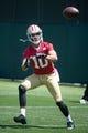 May 28, 2014; Santa Clara, CA, USA; San Francisco 49ers wide receiver David Reed (10) during organized team activities at the SAP Performance Facility. Mandatory Credit: Kyle Terada-USA TODAY Sports