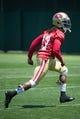 May 28, 2014; Santa Clara, CA, USA; San Francisco 49ers wide receiver Chuck Jacobs (17) during organized team activities at the SAP Performance Facility. Mandatory Credit: Kyle Terada-USA TODAY Sports