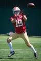 May 28, 2014; Santa Clara, CA, USA; San Francisco 49ers wide receiver Devon Wylie (19) during organized team activities at the SAP Performance Facility. Mandatory Credit: Kyle Terada-USA TODAY Sports