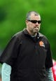 May 28, 2014; Berea, OH, USA; Cleveland Browns strength and condition coach Paul Ricci during organized team activities at Cleveland Browns training facility. Mandatory Credit: Andrew Weber-USA TODAY Sports