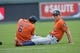 May 28, 2014; Kansas City, MO, USA; Houston Astros players George Springer (right) and Jonathan Villar (6) stretch before the game against the Kansas City Royals at Kauffman Stadium. Mandatory Credit: Peter G. Aiken-USA TODAY Sports