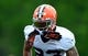 May 28, 2014; Berea, OH, USA; Cleveland Browns  defensive back Joe Haden (23) during organized team activities at Cleveland Browns training facility. Mandatory Credit: Andrew Weber-USA TODAY Sports