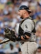 Jun 3, 2014; Los Angeles, CA, USA; Chicago White Sox catcher Tyler Flowers (21) in the second inning of the game against the Los Angeles Dodgers at Dodger Stadium. Mandatory Credit: Jayne Kamin-Oncea-USA TODAY Sports
