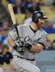 Jun 3, 2014; Los Angeles, CA, USA; Chicago White Sox designated hitter Adam Dunn (44) singles in the fourth inning of the game against the Los Angeles Dodgers at Dodger Stadium. Mandatory Credit: Jayne Kamin-Oncea-USA TODAY Sports