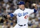 Jun 3, 2014; Los Angeles, CA, USA; Los Angeles Dodgers starting pitcher Paul Maholm (47) in the seventh inning of the game against the Chicago White Sox at Dodger Stadium. Mandatory Credit: Jayne Kamin-Oncea-USA TODAY Sports