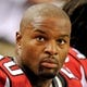 Sep 15, 2013; Atlanta, GA, USA; Atlanta Falcons defensive end Osi Umenyiora (50) shown on the sidelines against the St. Louis Rams during the game at Georgia Dome. The Falcons defeated the Rams 31-24. Mandatory Credit: Dale Zanine-USA TODAY Sports