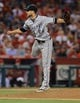 Jun 6, 2014; Anaheim, CA, USA; Chicago White Sox starting pitcher Andre Rienzo (64) in the fifth inning of the game against the Los Angeles Angels at Angel Stadium of Anaheim. Mandatory Credit: Jayne Kamin-Oncea-USA TODAY Sports