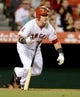 Jun 6, 2014; Anaheim, CA, USA; Los Angeles Angels right fielder Kole Calhoun (56) singles in 2 runs in the fifth inning of the game against the Chicago White Sox at Angel Stadium of Anaheim. Mandatory Credit: Jayne Kamin-Oncea-USA TODAY Sports