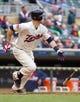 Jun 7, 2014; Minneapolis, MN, USA; Minnesota Twins first baseman Joe Mauer (7) at bat against the Houston Astros at Target Field. Mandatory Credit: Brad Rempel-USA TODAY Sports