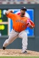 Jun 7, 2014; Minneapolis, MN, USA; Houston Astros relief pitcher Jerome Williams (36) pitches against the Minnesota Twins at Target Field. Mandatory Credit: Brad Rempel-USA TODAY Sports
