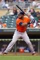 Jun 7, 2014; Minneapolis, MN, USA; Houston Astros first baseman Jon Singleton (28) at bat against the Minnesota Twins at Target Field. Mandatory Credit: Brad Rempel-USA TODAY Sports