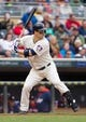 Jun 7, 2014; Minneapolis, MN, USA; Minnesota Twins left fielder Josh Willingham (16) at bat against the Houston Astros at Target Field. Mandatory Credit: Brad Rempel-USA TODAY Sports