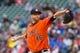 Jun 7, 2014; Minneapolis, MN, USA; Houston Astros starting pitcher Scott Feldman (46) pitches against the Minnesota Twins at Target Field. Mandatory Credit: Brad Rempel-USA TODAY Sports