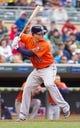 Jun 7, 2014; Minneapolis, MN, USA; Houston Astros third baseman Matt Dominguez (30) at bat against the Minnesota Twins at Target Field. Mandatory Credit: Brad Rempel-USA TODAY Sports