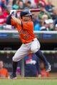 Jun 7, 2014; Minneapolis, MN, USA; Houston Astros second baseman Jose Altuve (27) at bat against the Minnesota Twins at Target Field. Mandatory Credit: Brad Rempel-USA TODAY Sports