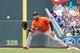 Jun 7, 2014; Minneapolis, MN, USA; Houston Astros first baseman Jon Singleton (28) at first against the Minnesota Twins at Target Field. Mandatory Credit: Brad Rempel-USA TODAY Sports