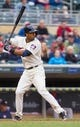 Jun 7, 2014; Minneapolis, MN, USA; Minnesota Twins third baseman Eduardo Nunez (9) at bat against the Houston Astros at Target Field. Mandatory Credit: Brad Rempel-USA TODAY Sports