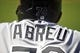June 8, 2014; Anaheim, CA, USA; Detail of the nameplate and helmet number of Chicago White Sox designated hitter Jose Abreu (79) at Angel Stadium of Anaheim. Mandatory Credit: Gary A. Vasquez-USA TODAY Sports