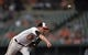 Jun 9, 2014; Baltimore, MD, USA; Baltimore Orioles starting pitcher Bud Norris (25) throws in the second inning against the Boston Red Sox at Oriole Park at Camden Yards. Mandatory Credit: Joy R. Absalon-USA TODAY Sports