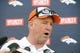 Jun 10, 2014; Denver, CO, USA; Denver Broncos head coach John Fox speaks to the media following mini camp drills at the Broncos practice facility. Mandatory Credit: Ron Chenoy-USA TODAY Sports