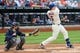 Jun 11, 2014; New York, NY, USA;  New York Mets third baseman David Wright (5) grounds into a double play during the first inning against the Milwaukee Brewers at Citi Field. Mandatory Credit: Anthony Gruppuso-USA TODAY Sports