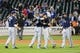 Jun 11, 2014; New York, NY, USA; Milwaukee Brewers celebrate the win against the New York Mets at Citi Field. Milwaukee Brewers won 3-1.  Mandatory Credit: Anthony Gruppuso-USA TODAY Sports