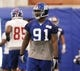 Jun 12, 2014; East Rutherford, NJ, USA; New York Giants defensive end Robert Ayers  (91) during New York Giants minicamp at the Quest Diagnostics Training Center. William Perlman/The Star-Ledger-USA TODAY Sports