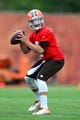 Jun 12, 2014; Berea, OH, USA; Cleveland Browns quarterback Johnny Manziel during minicamp at Browns training facility. Mandatory Credit: Andrew Weber-USA TODAY Sports