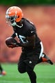 Jun 12, 2014; Berea, OH, USA; Cleveland Browns wide receiver Andrew Hawkins during minicamp at Browns training facility. Mandatory Credit: Andrew Weber-USA TODAY Sports