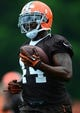 Jun 12, 2014; Berea, OH, USA; Cleveland Browns running back Ben Tate during minicamp at Browns training facility. Mandatory Credit: Andrew Weber-USA TODAY Sports