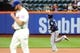 Jun 12, 2014; New York, NY, USA; Milwaukee Brewers third baseman Aramis Ramirez (16) rounds the bases after hitting a solo home run against New York Mets starting pitcher Jonathon Niese (49) during the second inning at Citi Field. Mandatory Credit: Brad Penner-USA TODAY Sports