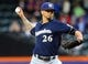 Jun 12, 2014; New York, NY, USA; Milwaukee Brewers starting pitcher Kyle Lohse (26) pitches against the New York Mets during the first inning at Citi Field. Mandatory Credit: Brad Penner-USA TODAY Sports