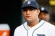 Jun 8, 2014; Detroit, MI, USA; Detroit Tigers first baseman Miguel Cabrera (24) in the dugout against the Boston Red Sox at Comerica Park. Mandatory Credit: Rick Osentoski-USA TODAY Sports