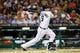 Jun 8, 2014; Detroit, MI, USA; Detroit Tigers third baseman Nick Castellanos (9) at bat against the Boston Red Sox at Comerica Park. Mandatory Credit: Rick Osentoski-USA TODAY Sports