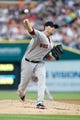 Jun 8, 2014; Detroit, MI, USA; Boston Red Sox starting pitcher John Lackey (41) pitches in the first inning against the Detroit Tigers at Comerica Park. Mandatory Credit: Rick Osentoski-USA TODAY Sports
