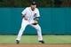 Jun 8, 2014; Detroit, MI, USA; Detroit Tigers shortstop Eugenio Suarez (30) in the field against the Boston Red Sox at Comerica Park. Mandatory Credit: Rick Osentoski-USA TODAY Sports