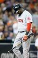 Jun 8, 2014; Detroit, MI, USA; Boston Red Sox designated hitter David Ortiz (34) walks back to the dugout against the Detroit Tigers at Comerica Park. Mandatory Credit: Rick Osentoski-USA TODAY Sports