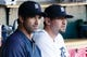 Jun 7, 2014; Detroit, MI, USA; Detroit Tigers manager Brad Ausmus (7) and third baseman Nick Castellanos (9) in the dugout before the game against the Boston Red Sox at Comerica Park. Mandatory Credit: Rick Osentoski-USA TODAY Sports